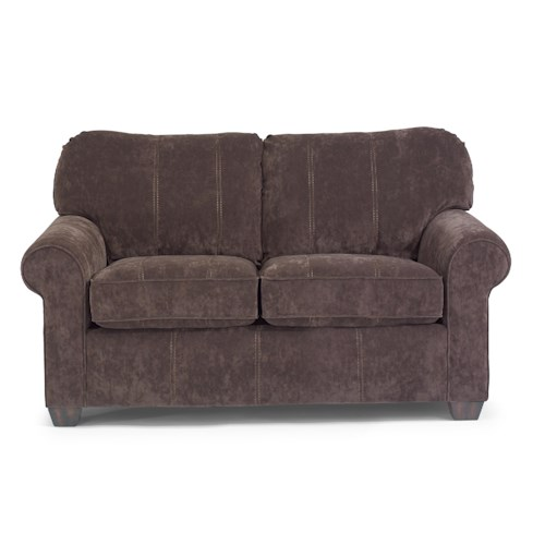 Flexsteel Thornton  Upholstered Love Seat with Rolled Arms