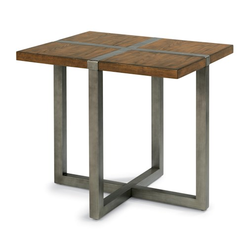 Flexsteel Trestle Rustic End Table with Aged Gunmetal Base