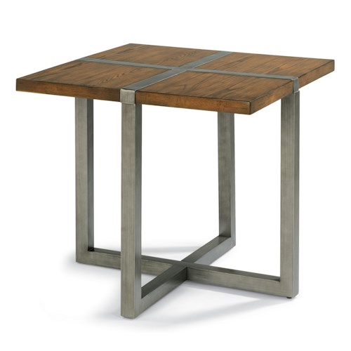 Flexsteel Trestle Rustic Lamp Table with Aged Gunmetal Base