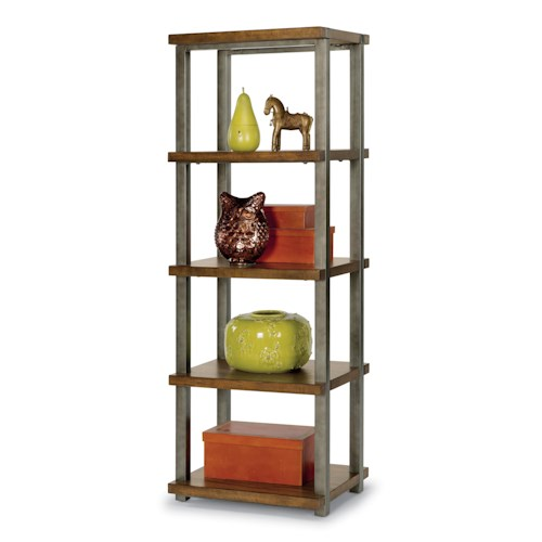 Flexsteel Trestle Rustic Side Pier / Bookshelf