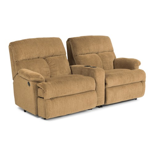 Flexsteel Triton  Three Piece Power Reclining Sectional Sofa w/ Arm Console