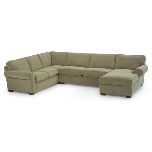 Flexsteel Vail Stationary Sectional Sofa with Right-Side Chaise
