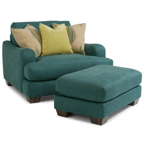 Flexsteel Vanessa Upholstered Chair with Exposed Wooden Legs and Plush Ottoman Set
