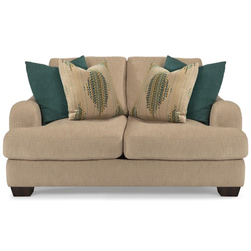 Flexsteel Vanessa Stationary Love Seat with Loose Pillow Back
