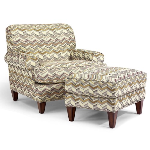 Flexsteel Venture Transitional Chair and Ottoman Set with Rolled Arms and Tapered Legs