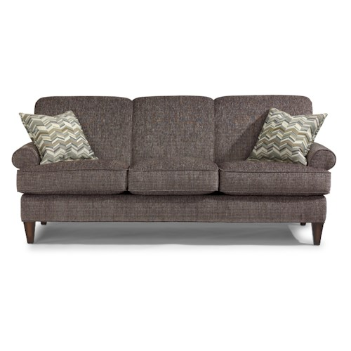 Flexsteel Venture Transitional Sofa with Rolled Arms and Tapered Legs
