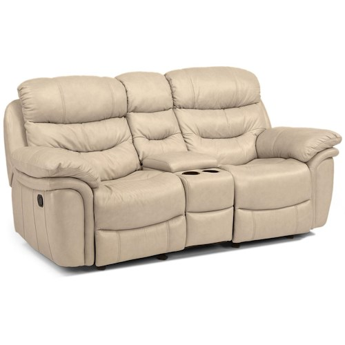 Flexsteel Latitudes - Westport Casual Rocking Reclining Love Seat with Console