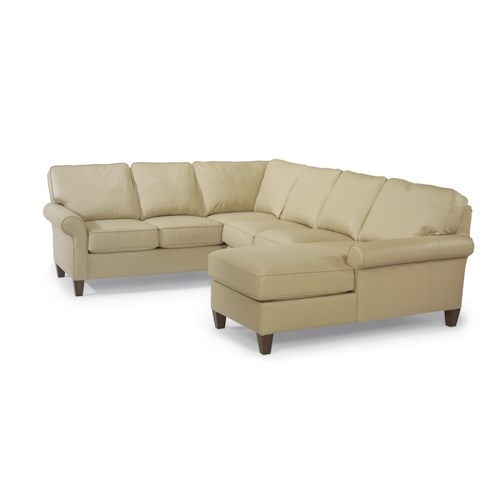 Flexsteel Westside Casual Corner Sectional Leather Upholstered Sofa