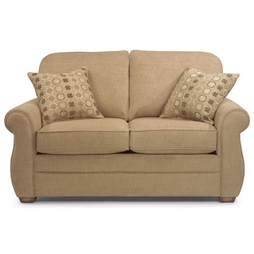Flexsteel Whitney Love Seat with Turned Arms and Wood Block Feet