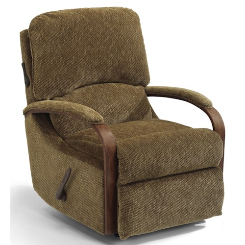 Flexsteel Woodlawn Exposed Wood Rocker Recliner with Power