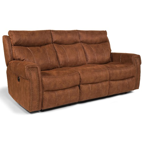 Flexsteel Latitudes - Wyatt - -660344646 Power Double Reclining Sofa with Key Arms and Nailhead Trim