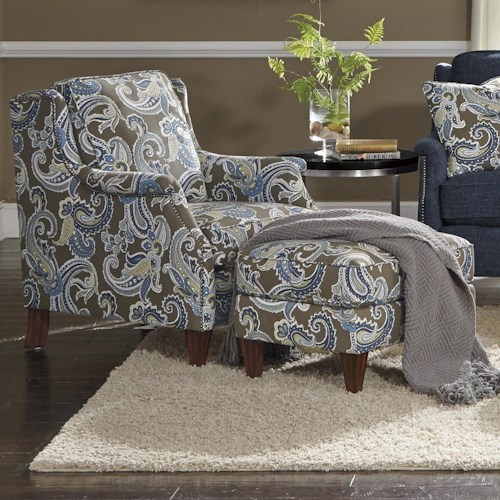 Flexsteel Zevon Transitional Chair and Ottoman Set with Slender English Arms and Nailhead Border