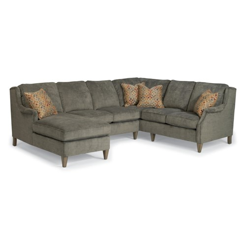 Flexsteel Zevon Three Piece Sectional Sofa with LAF Chaise