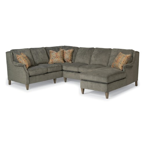 Flexsteel Zevon Three Piece Sectional Sofa with RAF Chaise
