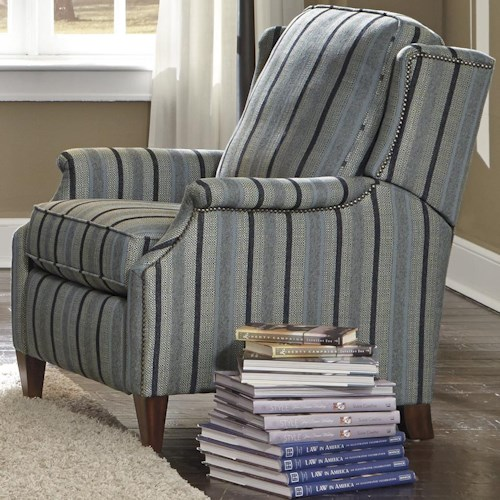 Flexsteel Zevon Transitional Power High Leg Recliner with Slender English Arms and Nailhead Border