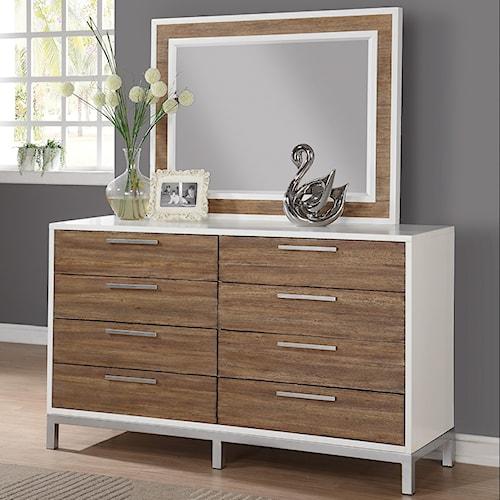 Flexsteel Wynwood Collection Oslo 8 Drawer Dresser and Mirror Set