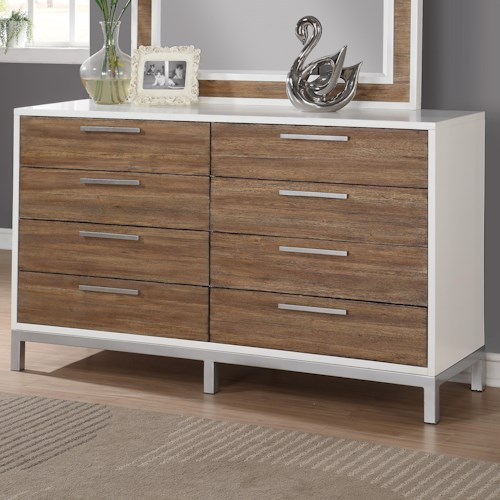 Flexsteel Wynwood Collection Oslo 8 Drawer Dresser with Felt Lined Top Drawers