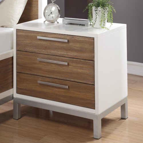 Flexsteel Wynwood Collection Oslo Nightstand with Felt Lined Top Drawer and Power Outlet