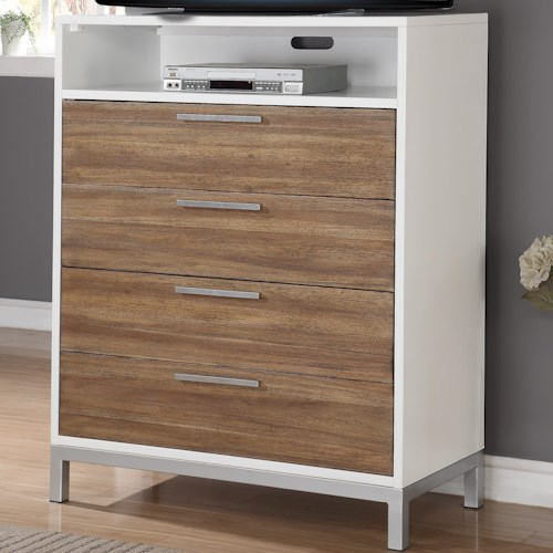 Flexsteel Wynwood Collection Oslo 4 Drawer Media Chest with Open Compartment