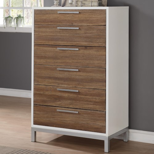 Flexsteel Wynwood Collection Oslo 6 Drawer Chest with Felt Lined Top Drawer