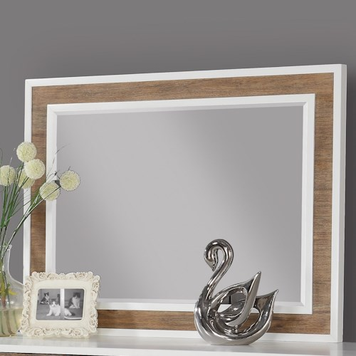 Flexsteel Wynwood Collection Oslo Landscape Mirror with White Borders