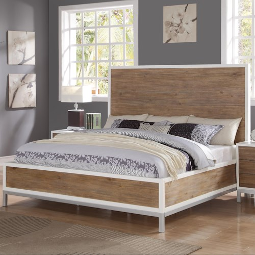 Flexsteel Wynwood Collection Oslo Queen Platform Bed with Square Feet