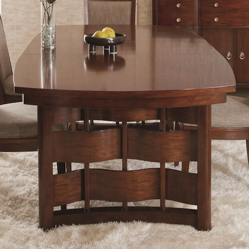 Morris Home Furnishings Augusta Rectangular Dining Table with Weaved Wood Detail on Base