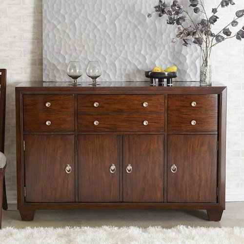 Morris Home Furnishings Augusta Sideboard with 4 Doors, 3 Drawers and Champagne Finished Metal Knobs and Ring Handles