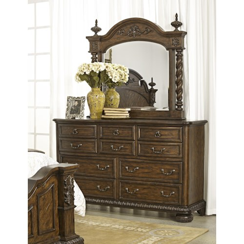 Morris Home Furnishings Yorktown Traditional 10 Drawer Dresser and Mirror