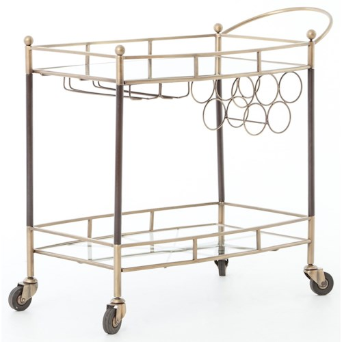 Four Hands Asher Coles Bar Cart Finished in Antique Brass