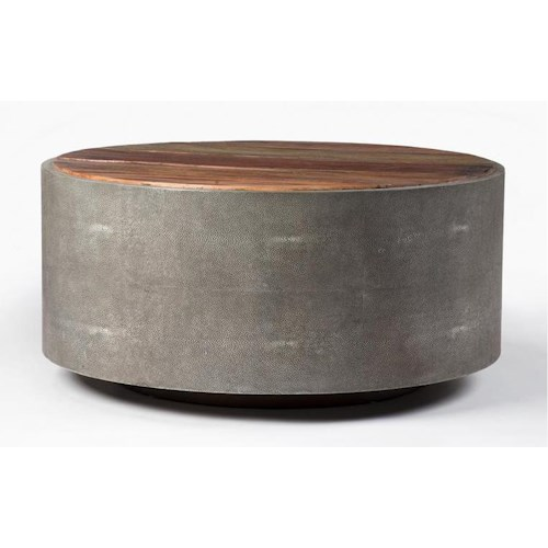 Four Hands Bina Contemporary Round Coffee Table w/ Metal Frame