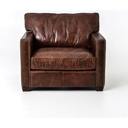 Four Hands Carnegie Larkin Club Chair with Cigar Leather Upholstery