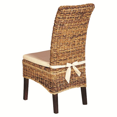 Four Hands Grass Roots Woven Banana Leaf Side Chair with Canvas Cushion