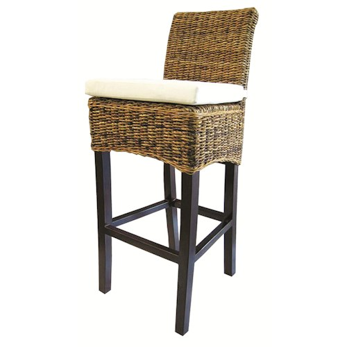 Four Hands Grass Roots Woven Banana Leaf Barstool w/ Canvas Cushion