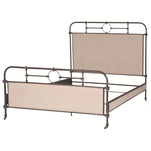 Four Hands Irondale King Berkley Metal Bed with Linen Accent