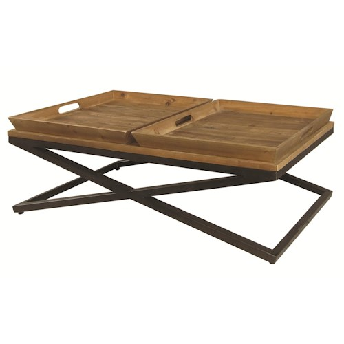 Four Hands Irondale Jax Wood & Metal Coffee Table w/ Trays