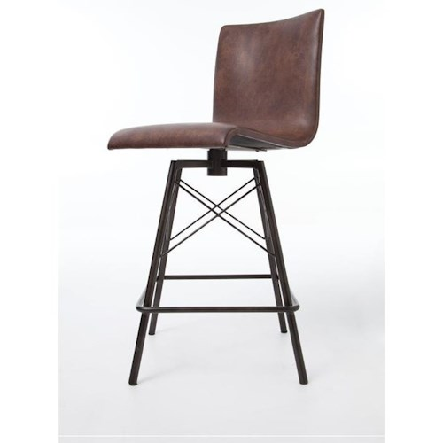 Four Hands Irondale Diaw Barstool with Havana Leather Finish