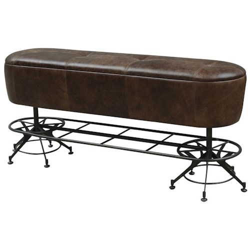 Four Hands Irondale Giles Counter Height Leather Dining Bench with Industrial Metal Base