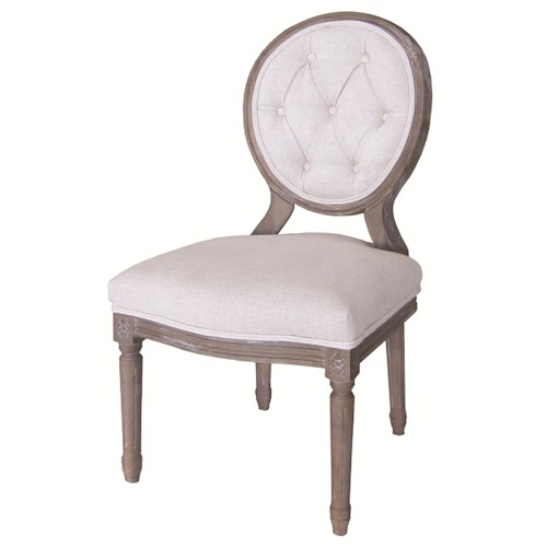 Four Hands Kensington Stella Dining Side Chair with Button Tufting and Bespoke Natural Upholstery