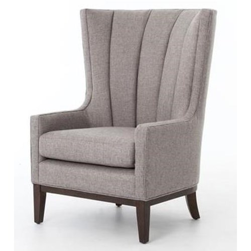 Four Hands Kensington Channeled Wing Chair with Chess Pewter Fabric