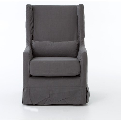Four Hands Kensington CBBS Swivel Wing Chair with Charcoal Fabric