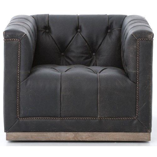Four Hands Kensington Maxx Swivel Chair with Black Upholstery