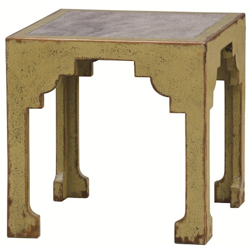 Four Hands Zhang Mechan Asian Inspired Square Accent Table with Marble Top