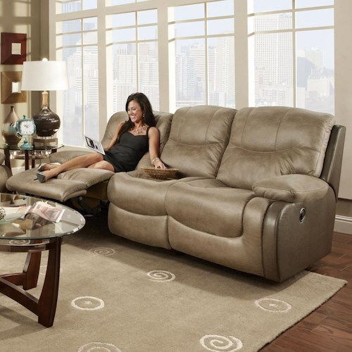 Franklin Holbrook Double Reclining Sofa with Scoop Seat