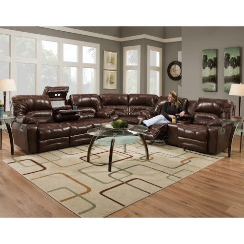 Franklin Legacy Reclining Sectional Sofa with Drop Table, Lights and Console