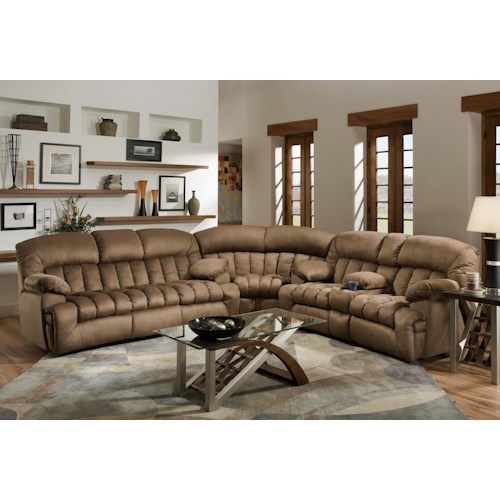 Franklin 568 Reclining Sectional Sofa with Drop-Down Table and Console