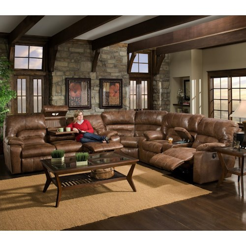 Franklin 596 3 Piece Motion Sectional with Storage & Lights