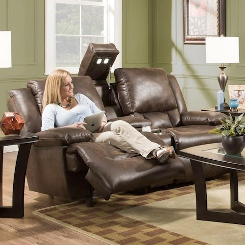 Franklin Excalibur Power Reclining Loveseat with Adjustable Backrest, Lights and Arm Storage