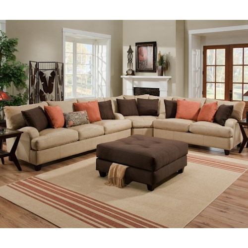 Franklin 809 Casual 3 Piece Sectional Sofa