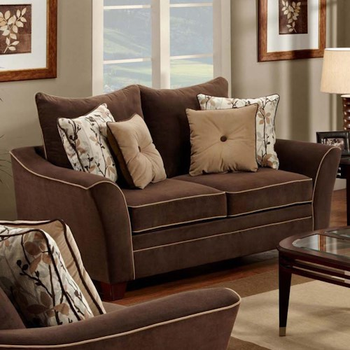 Franklin 811 Bridgeport Upholstered Loveseat with Flared Arms